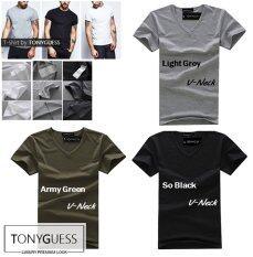 ราคา Tonyguess T Shirt เซ็ตสุดคุ้ม 3 ตัว Cotton Spandex เสื้อยืดคลาสสิค สีดิบโคตรเท่ห์ สีดำ สีเทาอ่อน สีเขียวทหาร คอวี Tonyguess ออนไลน์