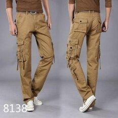 ขาย ซื้อ Tool Trousers Men S Multi Pocket Outdoor Sports Military Uniforms Trousers Electrical Maintenance Work Clothes Multi Pack Students 8138Khaki Intl