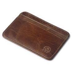 Top Class กระเป๋าเงินหนังแท้ กระเป๋าสตางค์แบบบาง กระเป๋าใส่บัตรเครดิต Elephant 1554 Brown เป็นต้นฉบับ