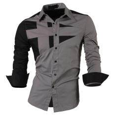 Top Quality Mens Slim Fit Unique Neckline Stylish Dress Long Sleeve Casual Shirt Gray Size M/us Xs - Intl.