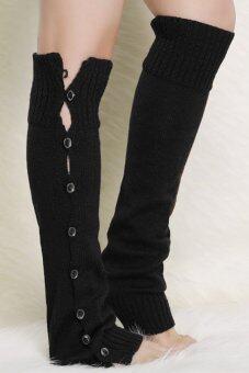 Toprank Knitted Leg Warmers For Women Button Down Boot Cuffs Women Gaiters Boot Socks Crochet Leg Warmers ( Black ) - intl