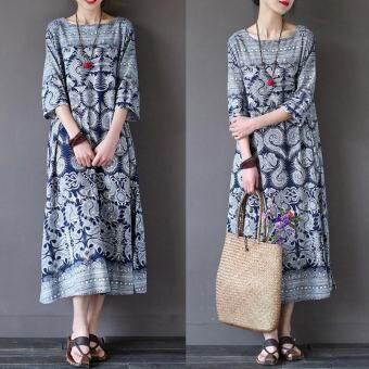 Blusas 2017 ZANZEA ผู้หญิงดอกไม้พิมพ์เสื้อกระโปรงเสื้อฤดูร้อนฤดูใบไม้ร่วงสุภาพสตรีโอ - คอยาวข้อเท้ายาว vestidoเสื้อผ้าแฟชั่นชุดเดรสชุดเดรสออกงาน