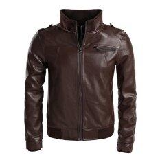 ขาย Topsellers365 Stylish For Zeagoo Men Stand Neck Synthetic Leather Casual Slim Outerwear Motorcycle Jacket Waistcoat Coffee Intl ออนไลน์ จีน