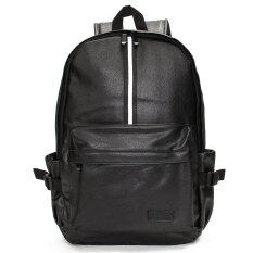 ซื้อ Travel Rucksack Camping Leather Men Sch**l Laptop Satchel Shoulder Bag Backpack Black ออนไลน์ จีน