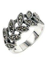 ราคา ราคาถูกที่สุด Trendy Diamond แหวนใบมะกอกเสริมดวงการงาน เงินแท้ประดับมาร์คาไซท์ Silver