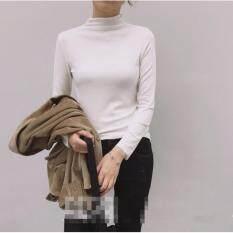 ทบทวน Tucky Jiang เสื้อแฟชั่น คอปีน แขนยาว ผ้ายืด สีขาว 4907
