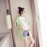 ซื้อ Tucky Jiang เสื้อคลุม แขนยาวแต่งแถบ มีฮูด ผ้าร่ม สีเขียวอ่อน 5954 ออนไลน์ ถูก