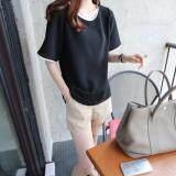ซื้อ Tucky Jiang เสื้อแฟชั่น คอกลม แขนสั้น สีพื้น แต่งขอบดำ สีดำ 9140 ใหม่