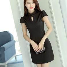 ขาย Tucky Jiang เดรสสั้นแฟชั่น ผ้าCvc แขนสั้น คอปีน สีดำ 8500 Tucky Jiang ออนไลน์