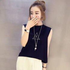 ราคา Tucky Jiang เสื้อแฟชั่น แขนกุด อักษร K สีดำ 8525 Tucky Jiang ใหม่