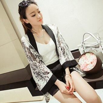 TuckyJiang เสื้อคลุม ทรงผีเสื้อ ผ้าชีฟอง ลายกราฟฟิค 2495