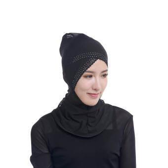 ฝาครอบด้านใน tudung มุสลิม CROSS ผ้าคลุม Lace Hijab - Black - INTL