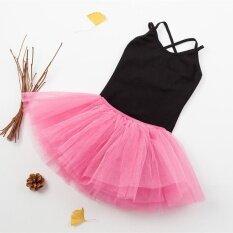 ราคา Two Pieces Girls Summer New Pure Cotton Sling Children Dance Training Ballet Dress Black Intl จีน