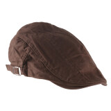 Unisex Men Women Beret Buckle Flat Cap Cabbie Driving Newsboy Gatsby Golf Hat Dark Brown ใน Thailand