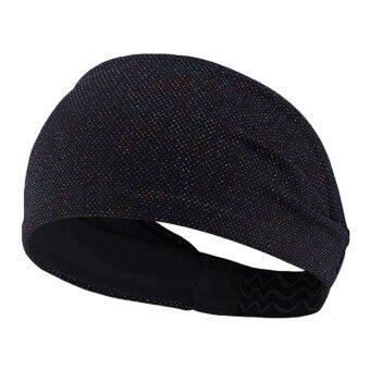 Unisex Men Women Elastic Moisture Wicking Headband Sweatbands Sports Workout Sweat Band for Yoga Cycling Running Fitness Exercise Black - intl
