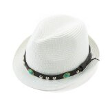 ขาย Unisex Men Women Straw Fedora Hat Rivet Short Rolled Brim Retro Panama Style Trilby Cap Homburg White Intl เป็นต้นฉบับ