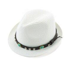 ขาย Unisex Men Women Straw Fedora Hat Rivet Short Rolled Brim Retro Panama Style Trilby Cap Homburg White Intl ผู้ค้าส่ง