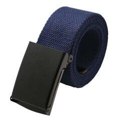 Unisex Plain Webbing Menwaist เข็มขัดผ้าใบลำลองเข็มขัด Dark สีฟ้า เป็นต้นฉบับ