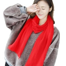 ขาย Unisex Winter Thick Scarf Women Men Warm Wool Shawl Wrap Scarves Color Red Intl ถูก