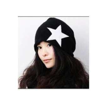 Upper หมวกผ้าไหมพรม รูปดาว  รุ่น NH200 (สีดำ)