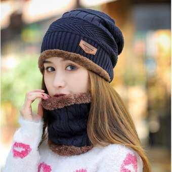 UPPER หมวกผ้าไหมพรมและผ้าพันคอลายถัก สไตล์เกาหลี รุ่น UP48 (สีน้ำเงิน)