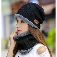 Upper หมวกผ้าไหมพรมและผ้าพันคอลายถัก สไตล์เกาหลี รุ่น Up48 สีดำ ใหม่ล่าสุด