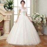 ขาย ซื้อ ออนไลน์ Ur One Word Shoulder Lace Wedding Dress White Intl