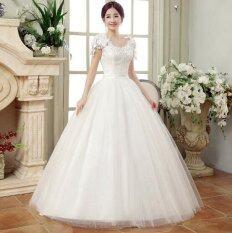 ราคา Ur One Word Shoulder Lace Wedding Dress White Intl เป็นต้นฉบับ