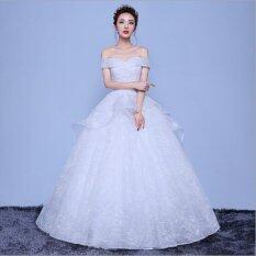 ขาย ซื้อ ออนไลน์ Ur หนึ่งคำไหล่เจ้าหญิงชุดแต่งงานสีขาว นานาชาติ