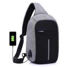 ขาย ซื้อ กระเป๋าป้องกันขโมยสะพายพาดลำตัว มีช่องเสียบ Usb สำหรับชาร์จโทรศัพท์มือถือ สีเทา กรุงเทพมหานคร