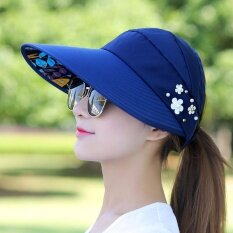 ขาย ซื้อ หมวกปีกกว้าง สไตล์เกาหลี หมวกป้องกัน Uv หมวกป้องกันรังสีอัลตราไวโอเลต หมวกสุภาพสตรีเวอร์ชั่นเกาหลี สีกรมท่า