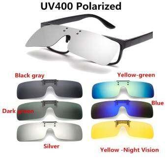 UV400 Polarized Clip On แว่นตากันแดดถุงมือขับขี่ในช่วงฤดูหนาวเลนส์มองกลางคืนสำหรับแว่นสายตาสั้นสีเขียว - INTL-
