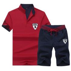 ขาย ซื้อ เสื้อทีเชิ้ต ผู้ชาย ผ้าฝ้าย แขนสั้น มีปก ไซส์ใหญ่ สีแดง สีแดง