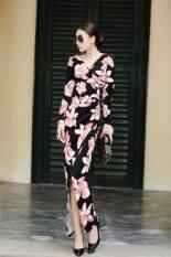 ขาย ไนท์คลับลึก V คอผอมยาวกระโปรงชุดเดรส ดอกคำฝอย ออนไลน์ Thailand