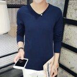 ซื้อ เสื้อยืดเกาหลีฤดูใบไม้ร่วงใหม่ที่บางเฉียบ V คอ สีน้ำเงินเข้ม ใหม่
