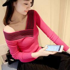 ราคา เสนกรมหญิงเสื้อสวมหัวคอวีเสื้อ Bottoming เสื้อกันหนาว ดอกกุหลาบสีแดง ออนไลน์ ฮ่องกง