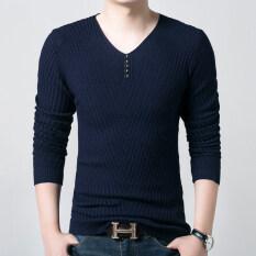 ขาย Bottoming เสื้อเกาหลีเสื้อยืดถักสลิมคอวี โดยไม่ต้องกำมะหยี่สีน้ำเงินเข้ม ใน ฮ่องกง