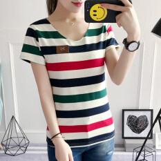 ซื้อ เกาหลีผ้าฝ้ายหญิงคอวีเสื้อลายแขนสั้นเสื้อยืด สีแดงและสีเขียวลาย ถูก ฮ่องกง