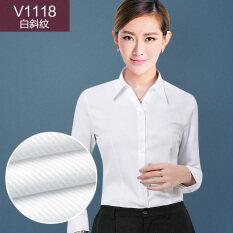 ส่วนลด หญิงแขนยาวอาชีพคอวีเสื้อเชิ้ตเสื้อเชิ้ตสีขาว สีขาวเฉียงลาย V1118 คอ V Unbranded Generic