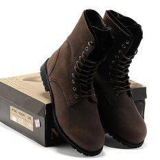 ซื้อ Vanker แฟชั่นผู้ชายฤดูหนาวย้อนยุคพังค์สไตล์อังกฤษสูงด้านบนรองเท้าต่อสู้รองเท้า สีน้ำตาล ออนไลน์ จีน
