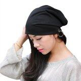 ขาย Vanker Hot Unisex Soft Cotton Hip Hop Metal Ring Warm Beanie Hedging Cap Hat Black ถูก