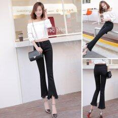 Venflon Women Korean Elastic Fringe Rough Hem Flares Denim Jeans Slim Trousers Pant Black ใหม่ล่าสุด