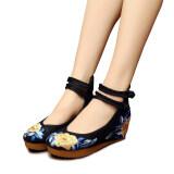 ราคา Veowalk Floral Cotton Embroidery Women S Casual Platform Shoes Ankle Buckles Ladies 5Cm Mid Heel Canvas Wedges Pumps Black Intl ใน จีน