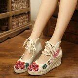ราคา Veowalk Flower Embroidered Asian Women Casual Canvas 5Cm Mid Heels Wedges Platforms Lace Up Ladies Cotton Pump Shoes Beige Intl ใน จีน