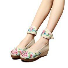 Veowalk ดอกไม้ปักหญิงรองเท้าลำลองรองเท้าแพลตฟอร์มฝ้ายข้อเท้า 5 เซนติเมตรกลางส้นผ้าใบลิ่มปั๊มสีเบจ นานาชาติ ถูก