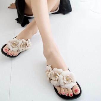 Victory ดอกเคมีเลียแบนรองเท้าแตะฤดูร้อนเยลลี่รองเท้าผู้หญิง (สีดำ)-นานาชาติ