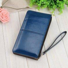 ขาย ซื้อ Victory Fashion Woman Long Han Edition Handbag Candy Color Shiny Leather Mobile Phone Wallet Blue Intl จีน