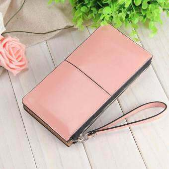 Victory Fashion Woman Long Han edition Handbag Candy color Shiny Leather Mobile phone Wallet(Pink