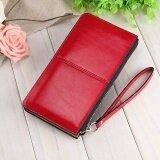 ราคา Victory Fashion Woman Long Han Edition Handbag Candy Color Shiny Leather Mobile Phone Wallet Red Intl ออนไลน์