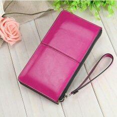 ขาย Victory Fashion Woman Long Han Edition Handbag Candy Color Shiny Leather Mobile Phone Wallet Rose Intl ใหม่